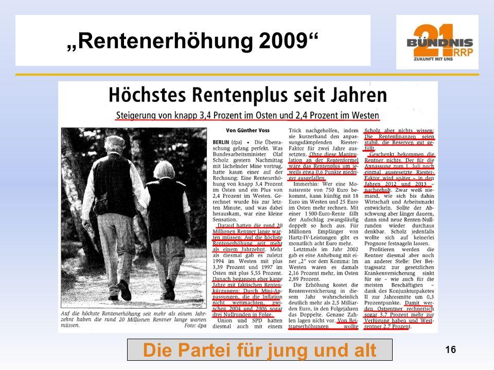 """""""Rentenerhöhung 2009"""