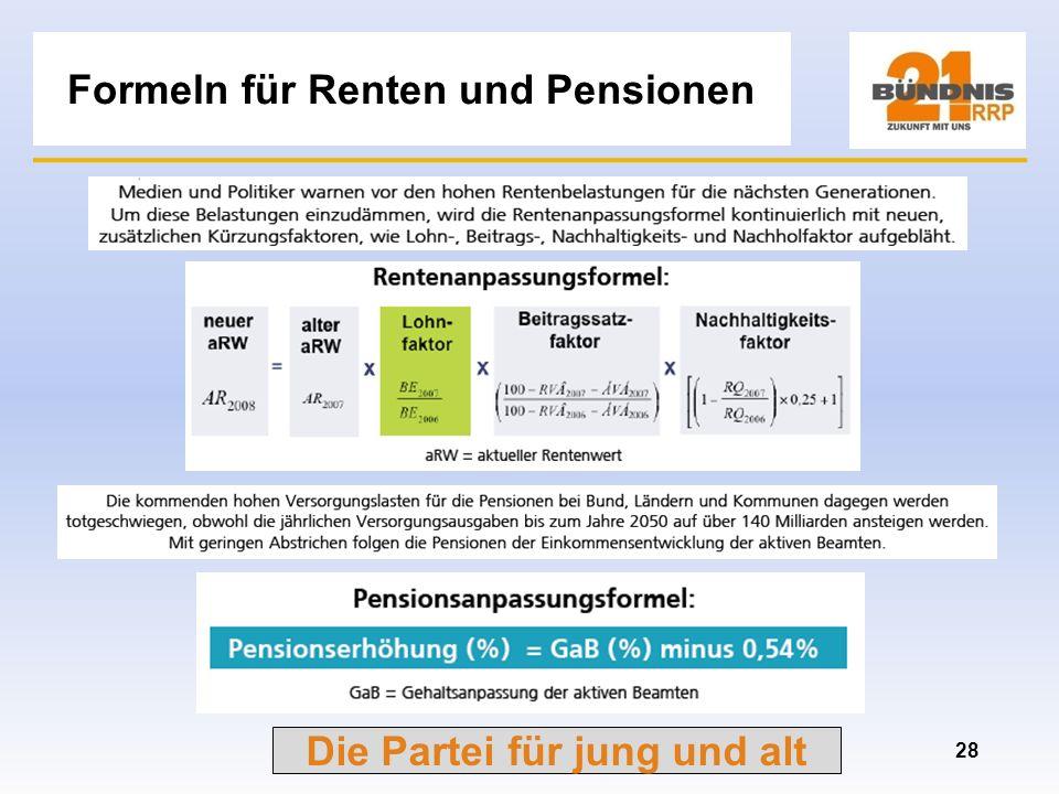 Formeln für Renten und Pensionen