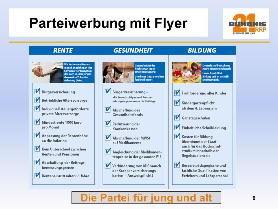 Parteiwerbung mit Flyer