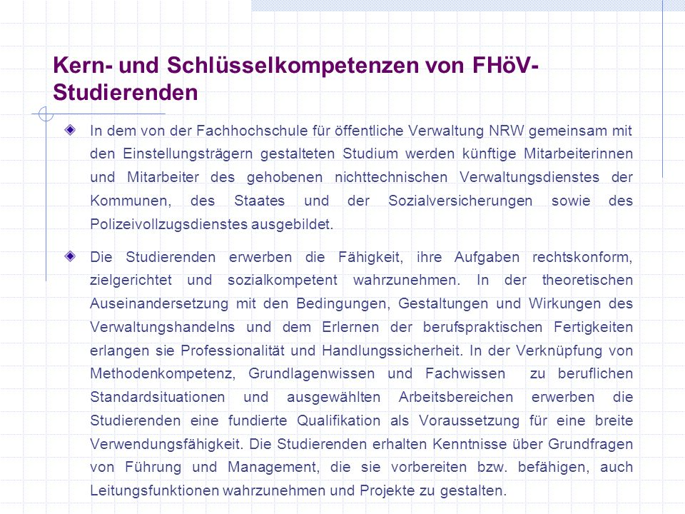 Kern- und Schlüsselkompetenzen von FHöV-Studierenden