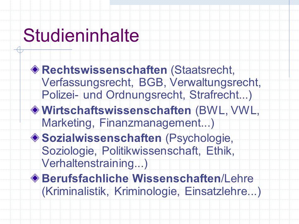 Studieninhalte Rechtswissenschaften (Staatsrecht, Verfassungsrecht, BGB, Verwaltungsrecht, Polizei- und Ordnungsrecht, Strafrecht...)