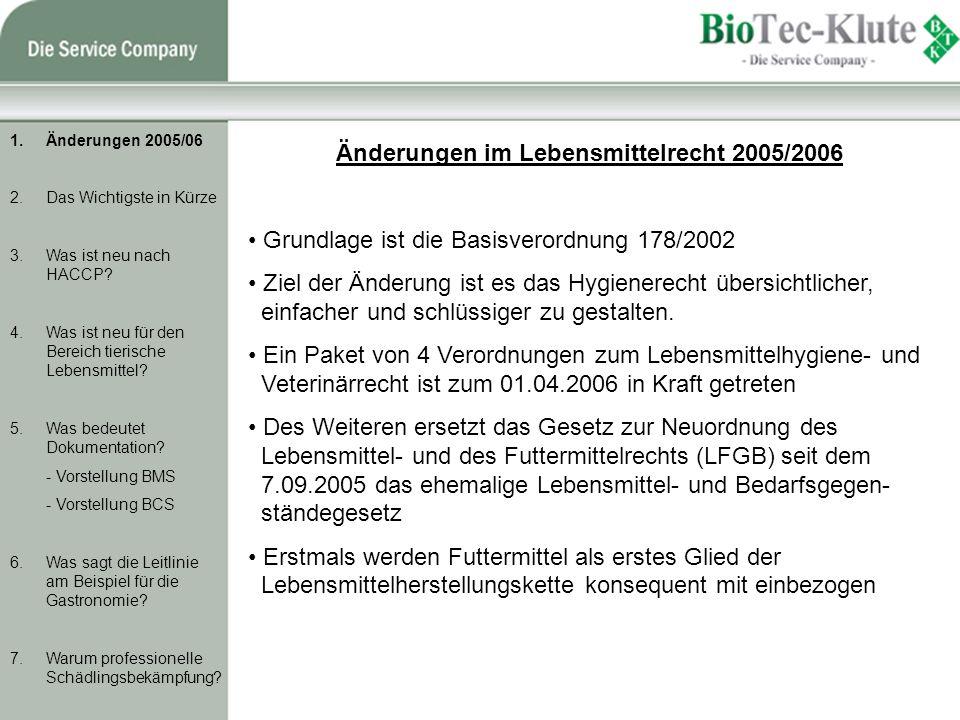 Änderungen im Lebensmittelrecht 2005/2006