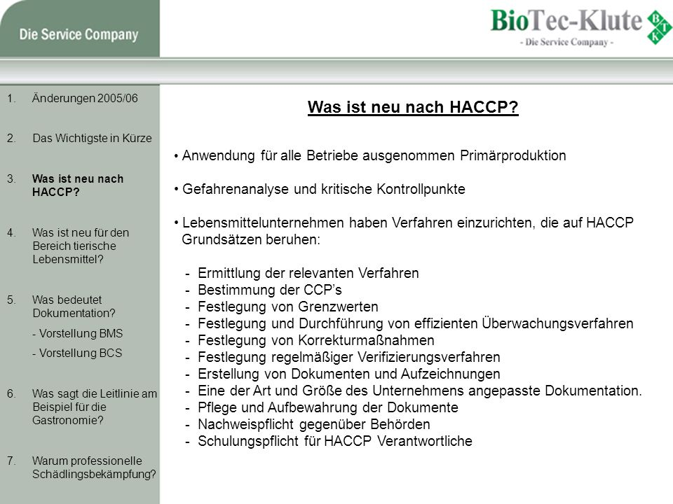 Was ist neu nach HACCP Gefahrenanalyse und kritische Kontrollpunkte