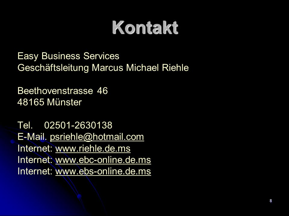 Kontakt Easy Business Services Geschäftsleitung Marcus Michael Riehle