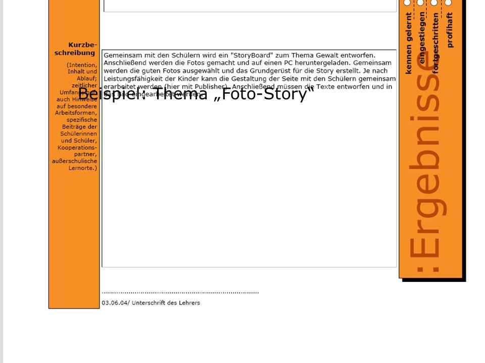 """Portfolio III Beispiel: Thema """"Foto-Story"""