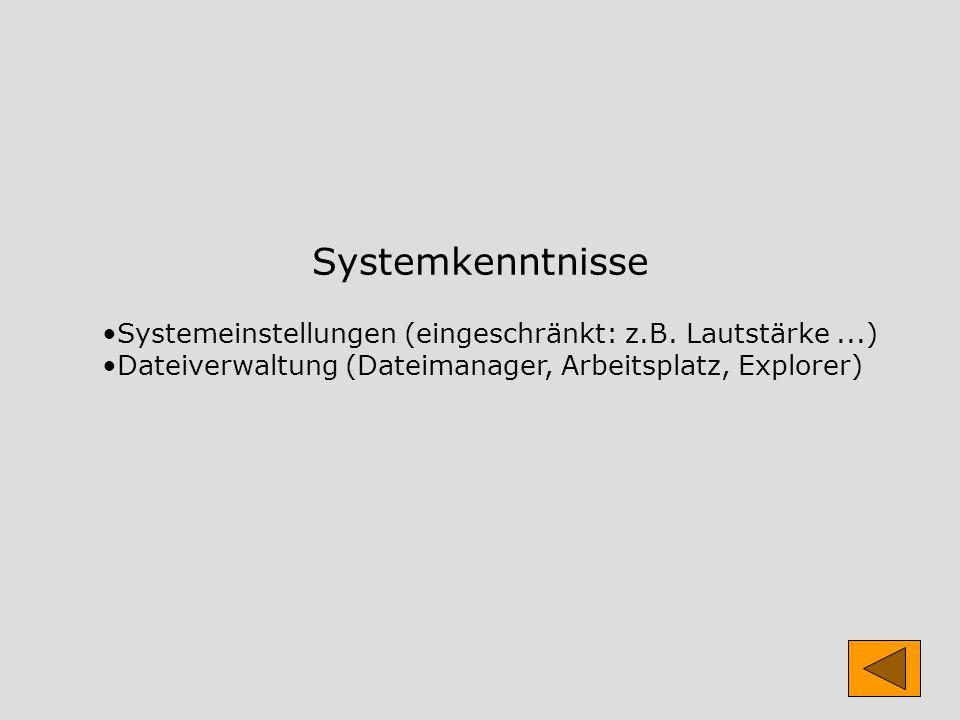 Systemkenntnisse Systemeinstellungen (eingeschränkt: z.B.
