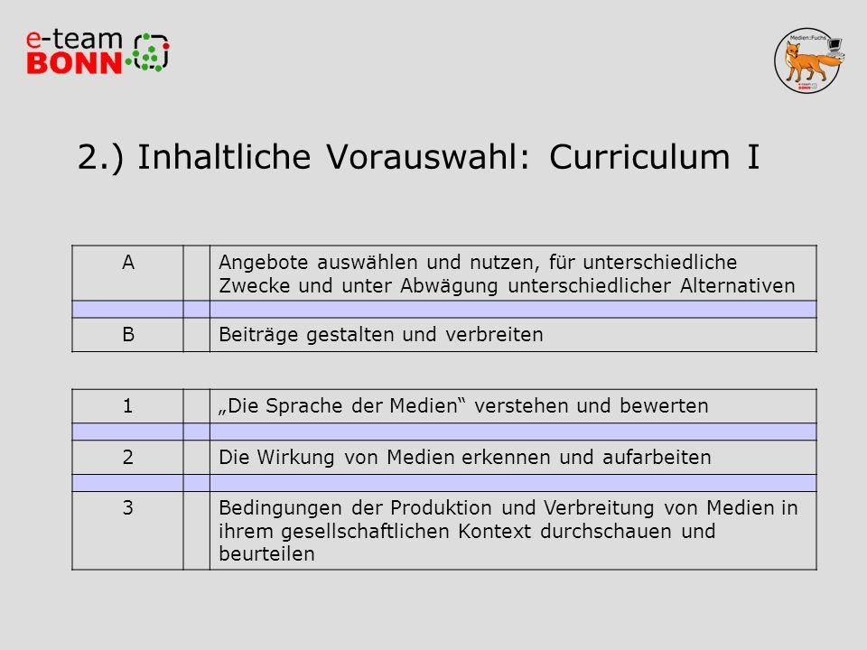 2.) Inhaltliche Vorauswahl: Curriculum I
