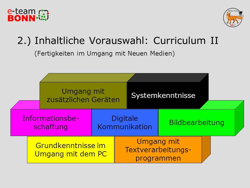 2.) Inhaltliche Vorauswahl: Curriculum II (Fertigkeiten im Umgang mit Neuen Medien)