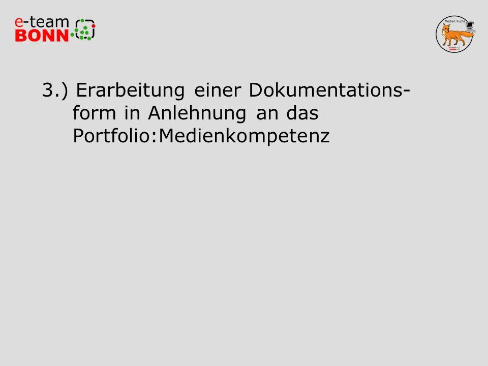3. ) Erarbeitung einer Dokumentations-. form in Anlehnung an das