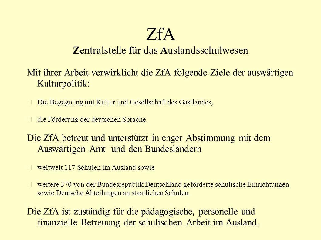 ZfA Zentralstelle für das Auslandsschulwesen
