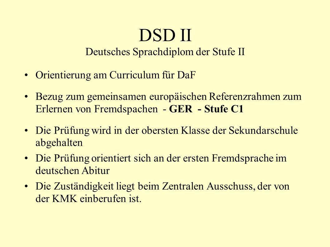DSD II Deutsches Sprachdiplom der Stufe II