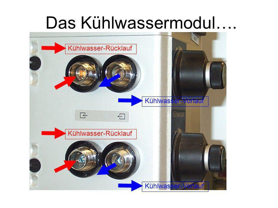 Das Kühlwassermodul…. Kühlwasser-Rücklauf Kühlwasser-Vorlauf