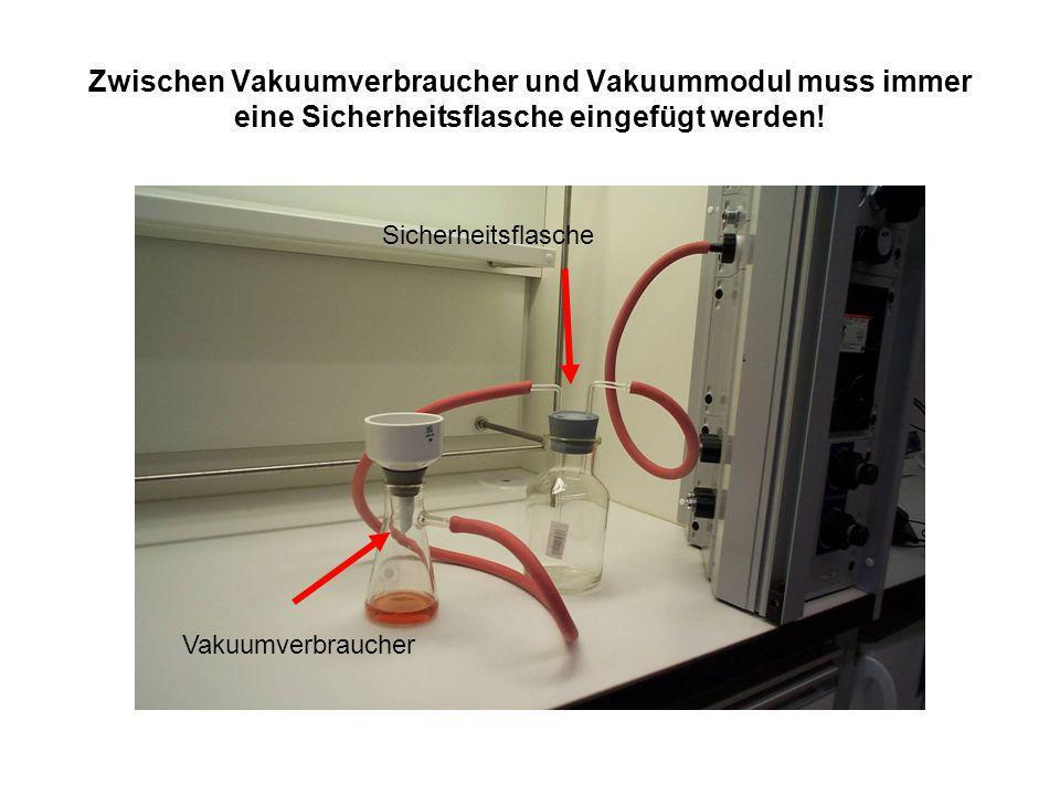 Zwischen Vakuumverbraucher und Vakuummodul muss immer eine Sicherheitsflasche eingefügt werden!