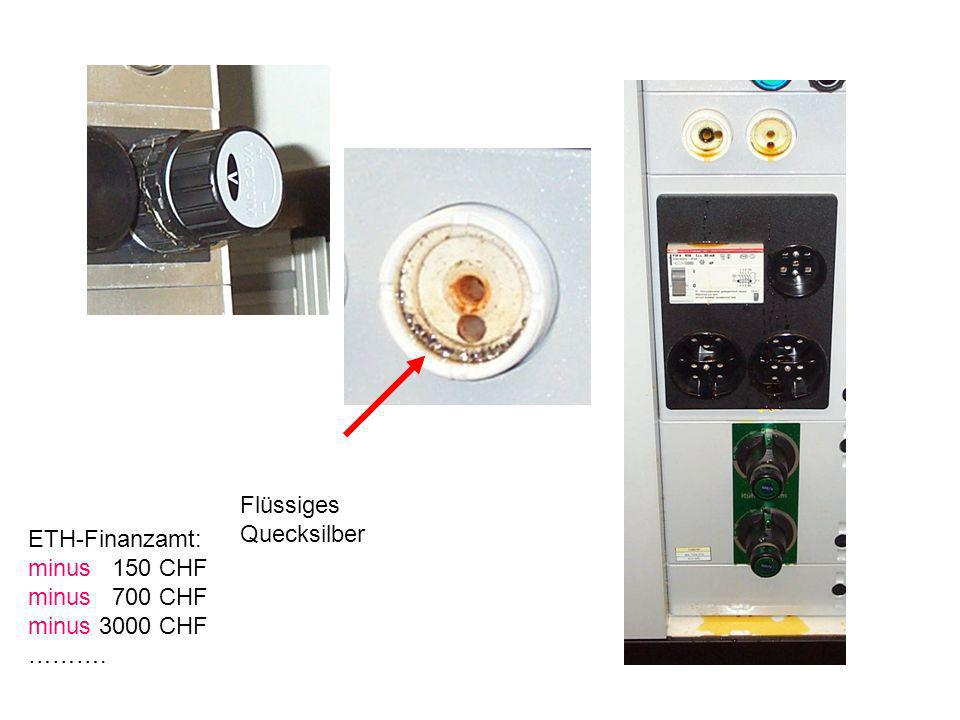 Flüssiges Quecksilber ETH-Finanzamt: minus 150 CHF minus 700 CHF minus 3000 CHF ……….