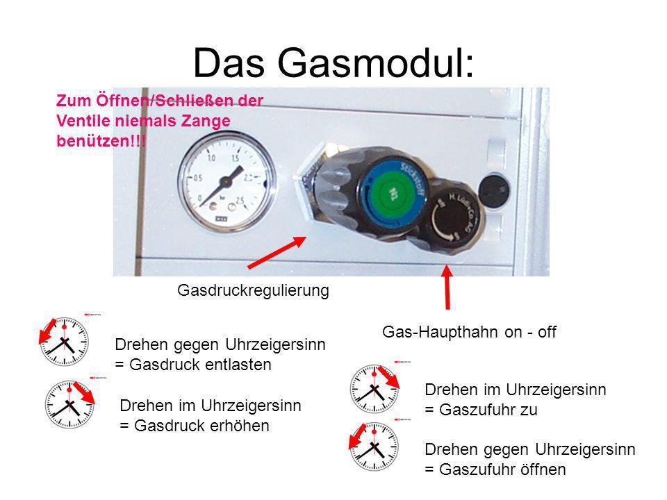 Das Gasmodul: Zum Öffnen/Schließen der Ventile niemals Zange