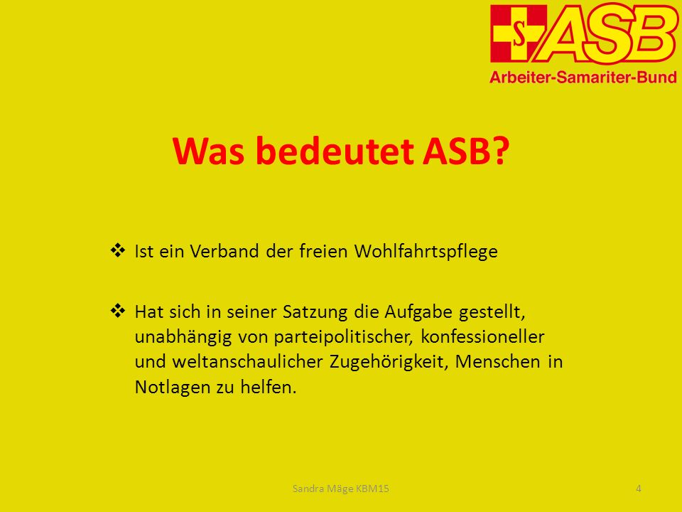 Was bedeutet ASB Ist ein Verband der freien Wohlfahrtspflege