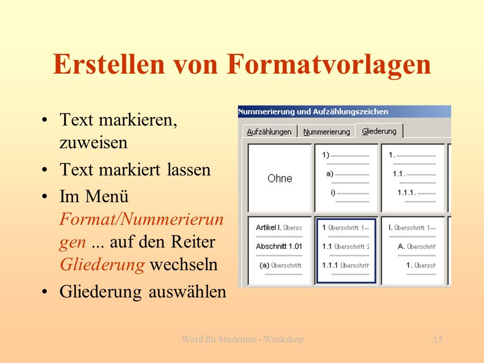 Erstellen von Formatvorlagen
