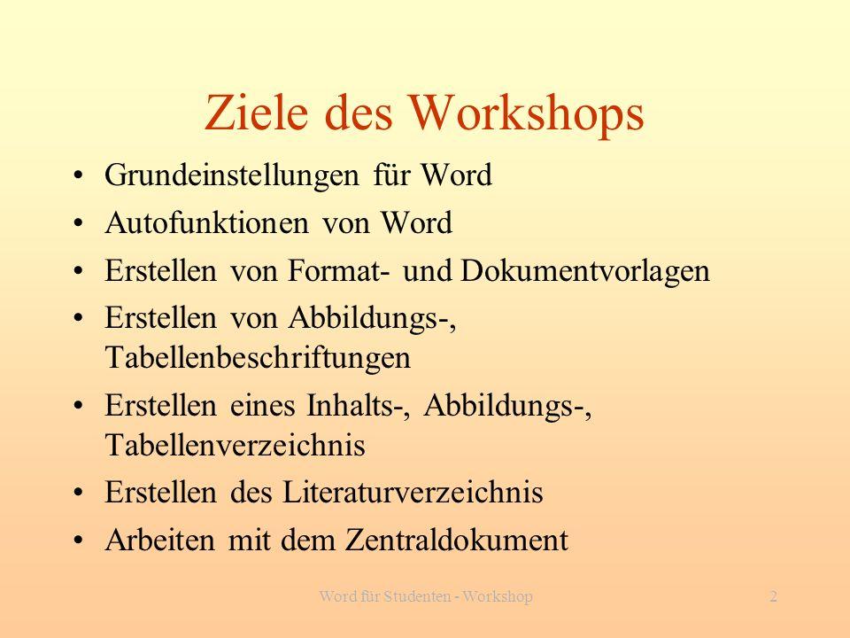 Word für Studenten - Workshop