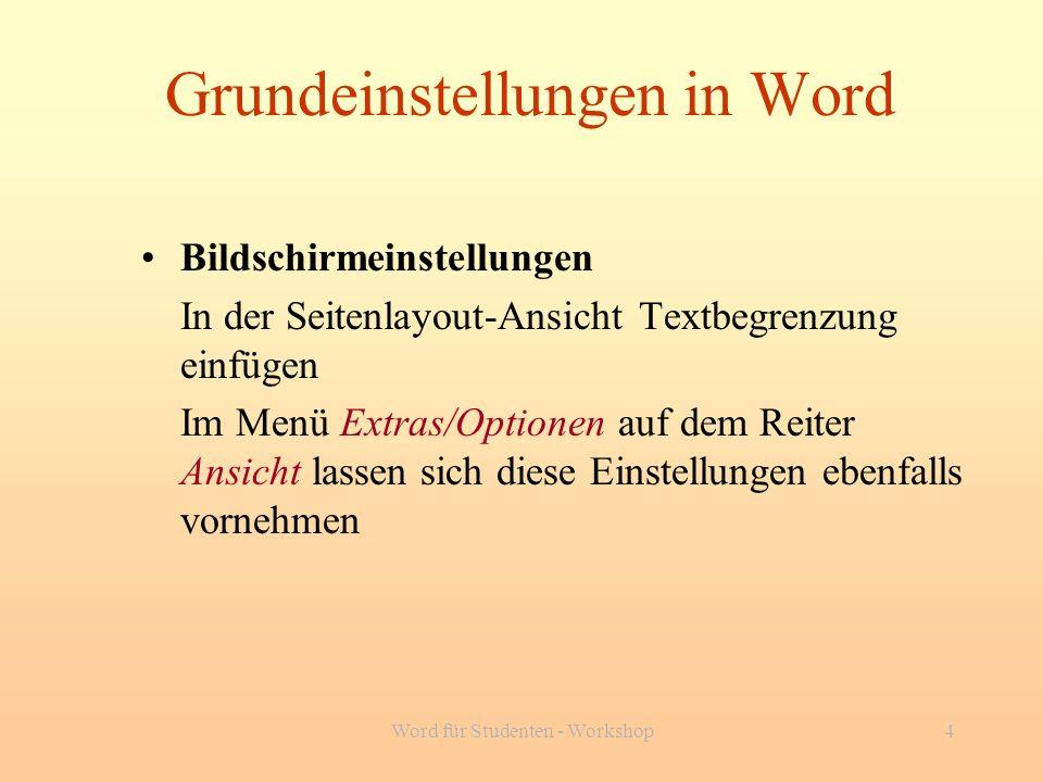 Grundeinstellungen in Word