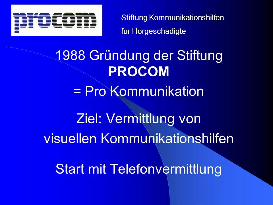 1988 Gründung der Stiftung PROCOM = Pro Kommunikation