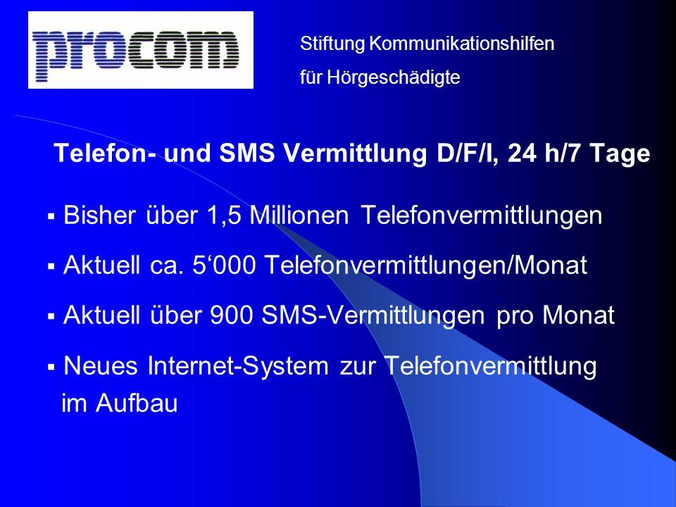 Telefon- und SMS Vermittlung D/F/I, 24 h/7 Tage