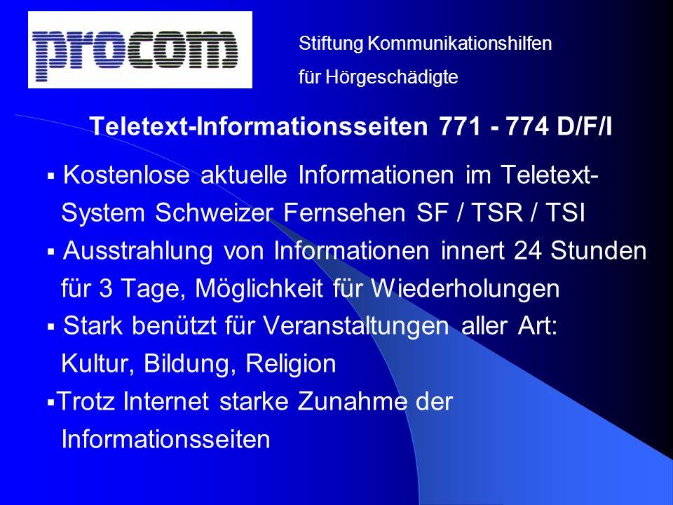 Teletext-Informationsseiten 771 - 774 D/F/I
