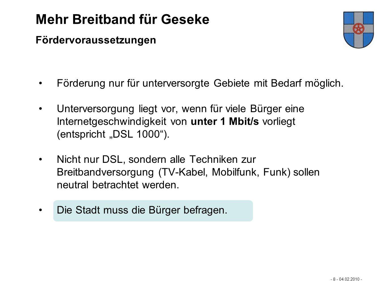 """""""Mehr Breitband für Büren… Mehr Breitband für Geseke"""