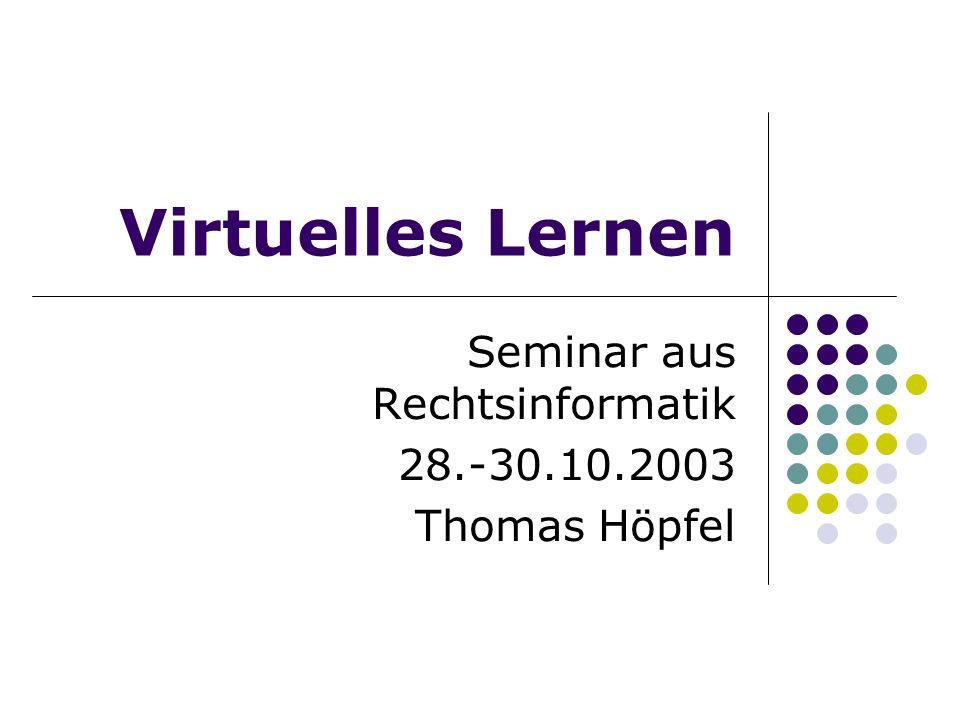 Seminar aus Rechtsinformatik 28.-30.10.2003 Thomas Höpfel