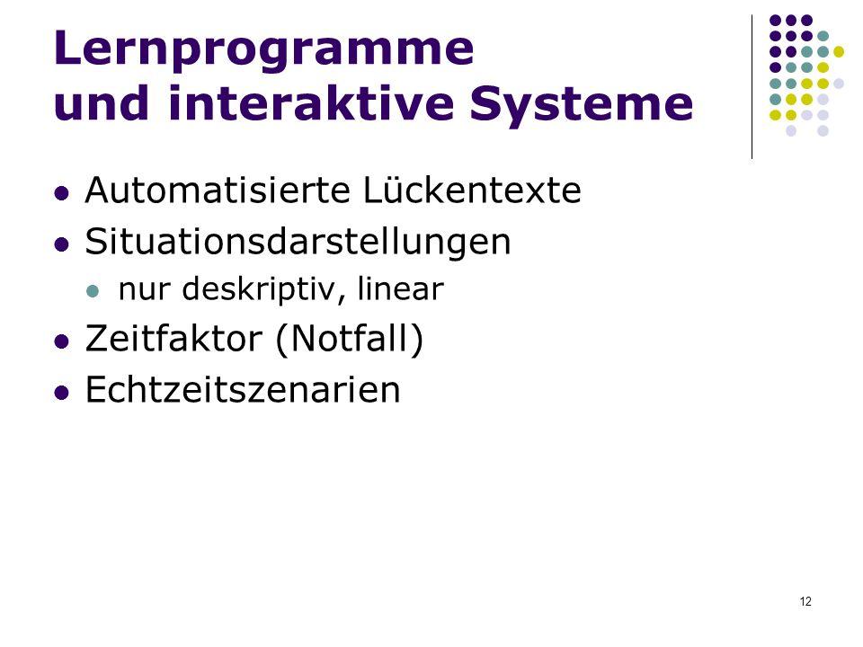 Lernprogramme und interaktive Systeme