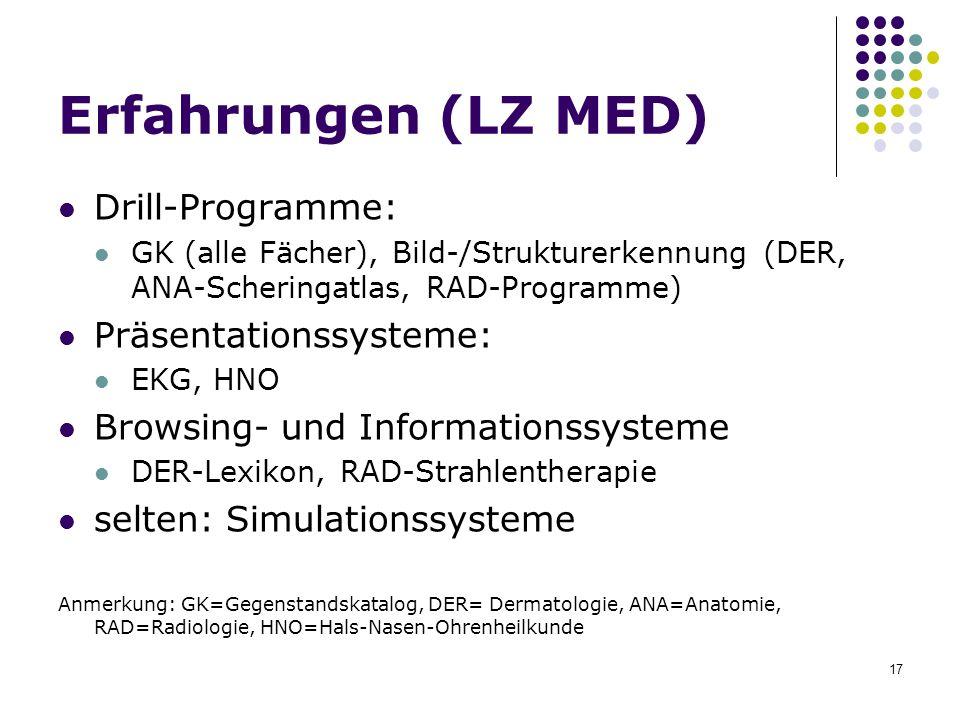 Erfahrungen (LZ MED) Drill-Programme: Präsentationssysteme: