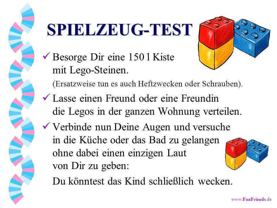 SPIELZEUG-TEST Besorge Dir eine 150 l Kiste mit Lego-Steinen. (Ersatzweise tun es auch Heftzwecken oder Schrauben).