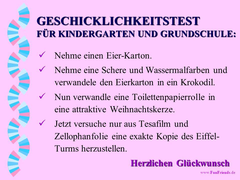 GESCHICKLICHKEITSTEST FÜR KINDERGARTEN UND GRUNDSCHULE: