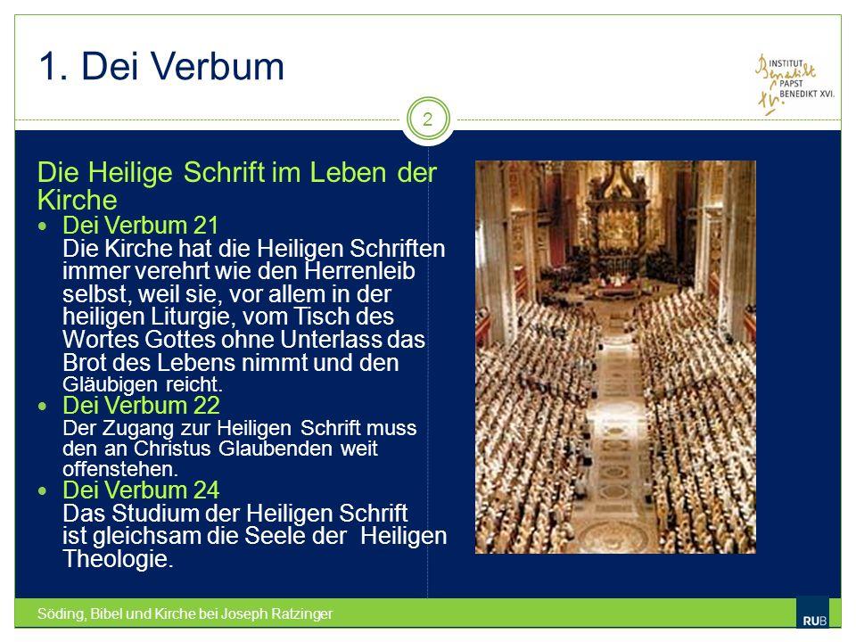 1. Dei Verbum Die Heilige Schrift im Leben der Kirche