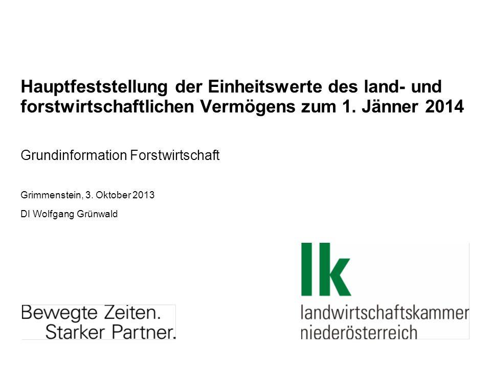 Hauptfeststellung der Einheitswerte des land- und forstwirtschaftlichen Vermögens zum 1. Jänner 2014