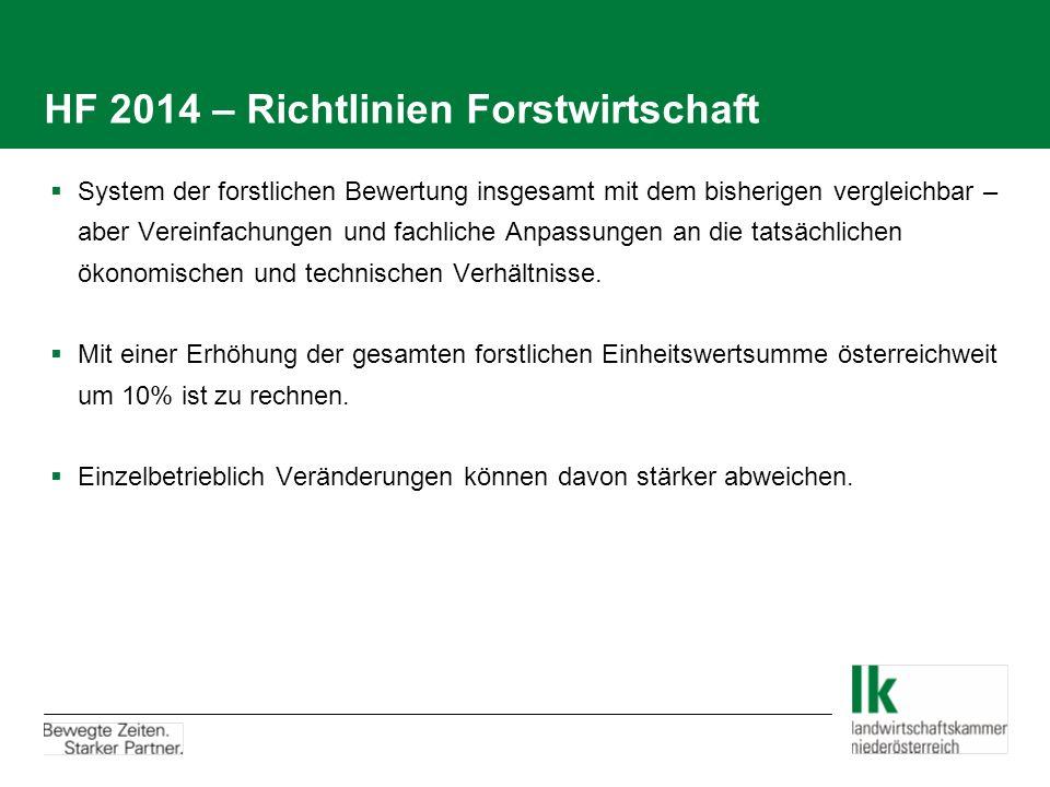 HF 2014 – Richtlinien Forstwirtschaft