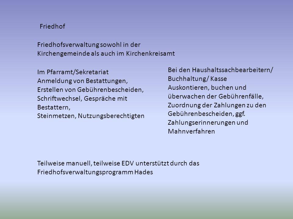 Friedhof Friedhofsverwaltung sowohl in der Kirchengemeinde als auch im Kirchenkreisamt. Bei den Haushaltssachbearbeitern/ Buchhaltung/ Kasse.