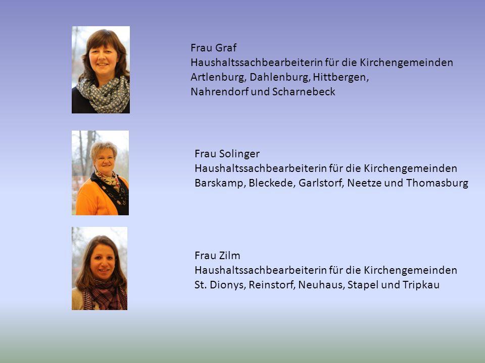 Frau Graf Haushaltssachbearbeiterin für die Kirchengemeinden. Artlenburg, Dahlenburg, Hittbergen, Nahrendorf und Scharnebeck.