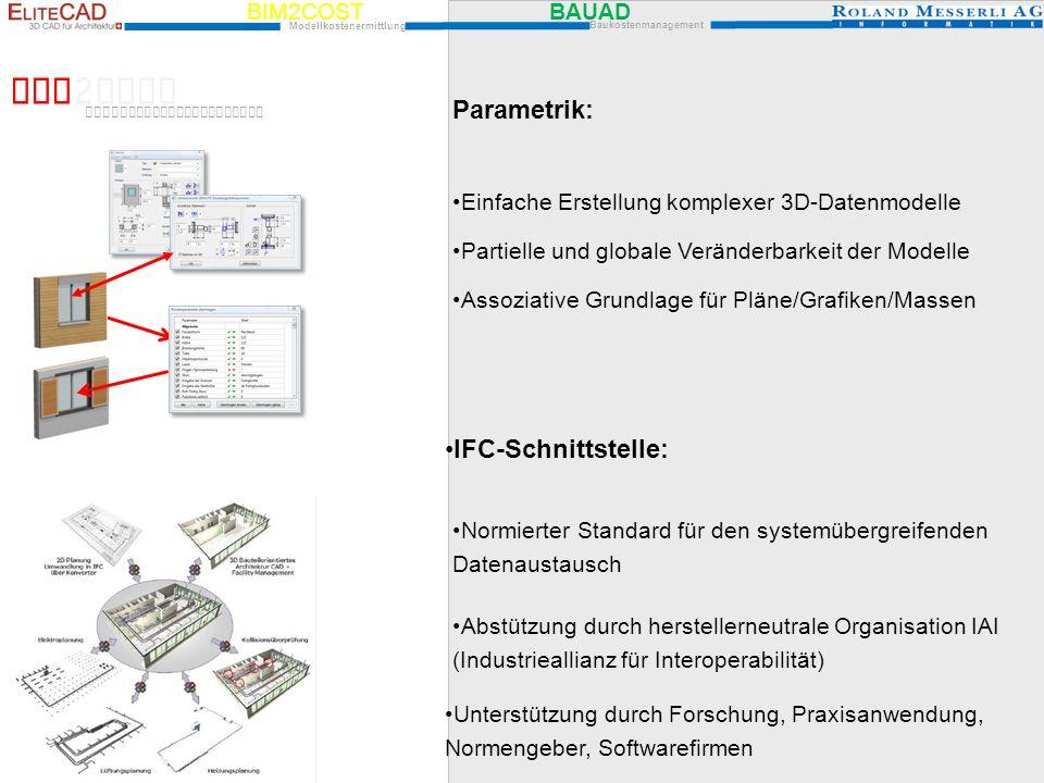 BIM2COST Parametrik: IFC-Schnittstelle: