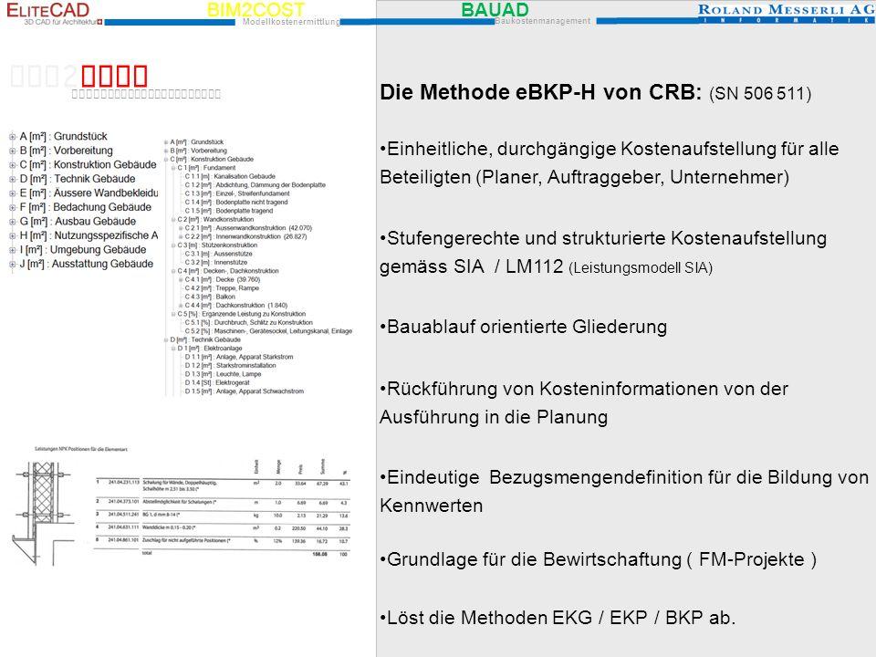 BIM2COST Die Methode eBKP-H von CRB: (SN 506 511)