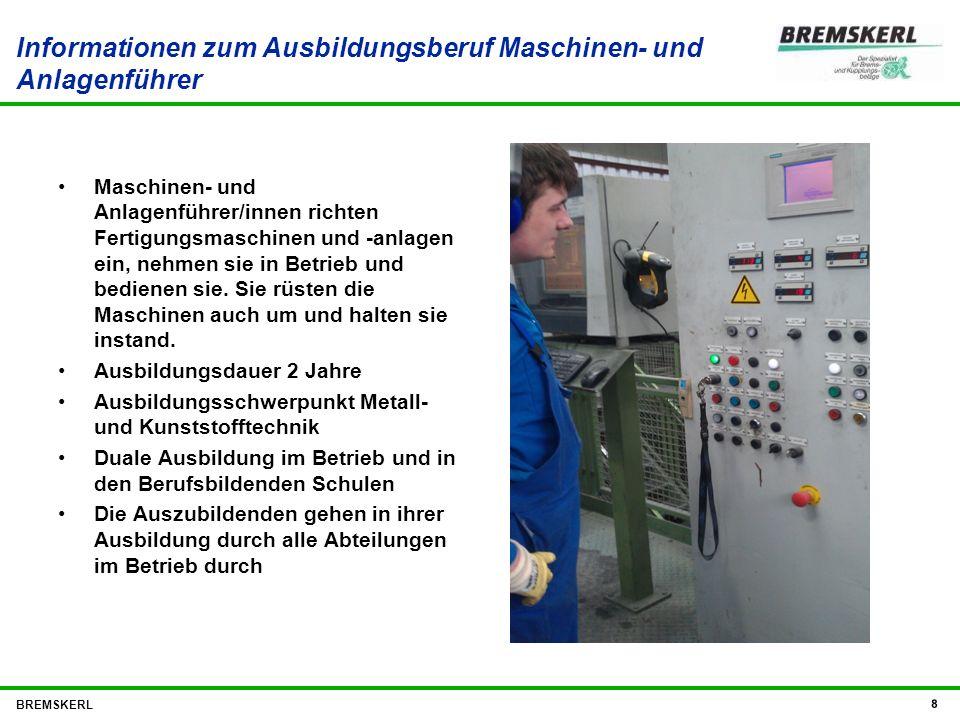 Informationen zum Ausbildungsberuf Maschinen- und Anlagenführer