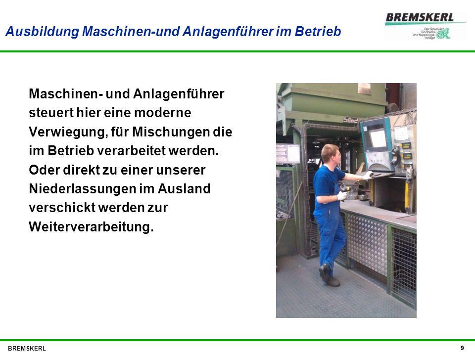 Ausbildung Maschinen-und Anlagenführer im Betrieb