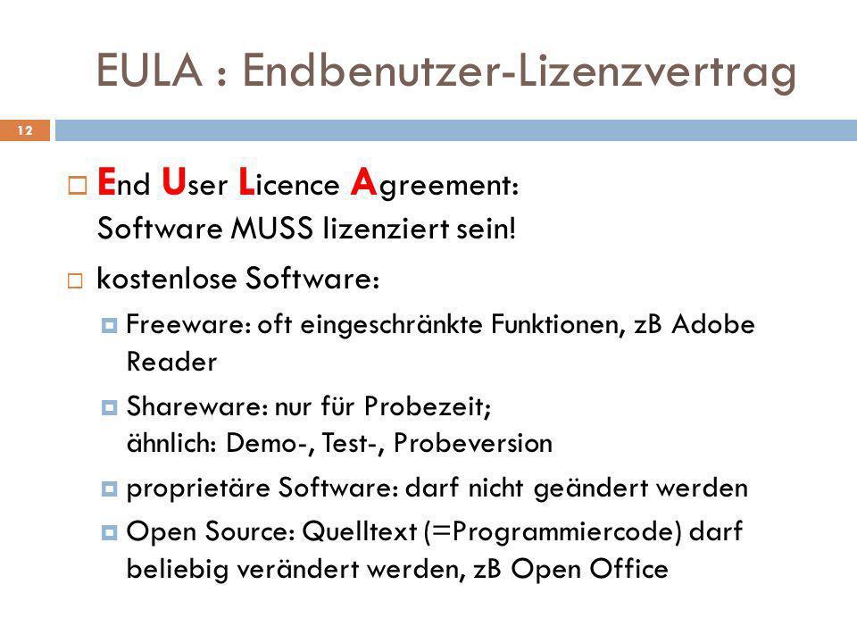 EULA : Endbenutzer-Lizenzvertrag