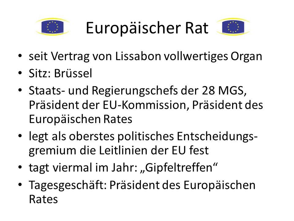 Europäischer Rat seit Vertrag von Lissabon vollwertiges Organ