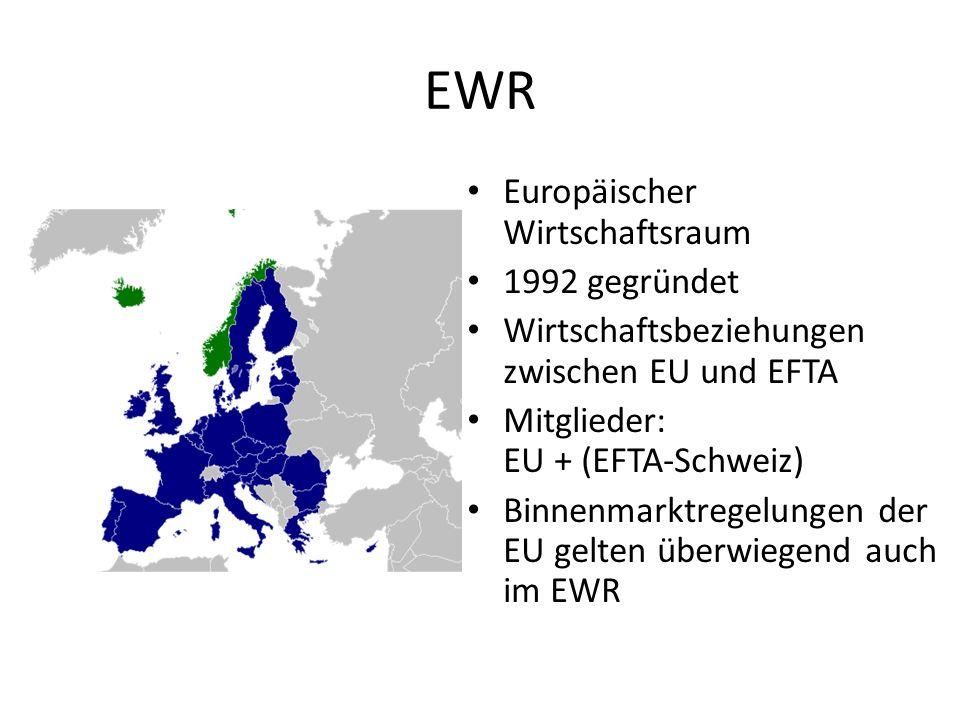 EWR Europäischer Wirtschaftsraum 1992 gegründet