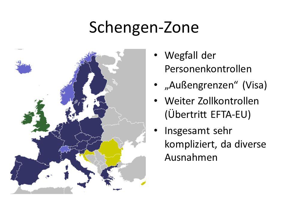 """Schengen-Zone Wegfall der Personenkontrollen """"Außengrenzen (Visa)"""