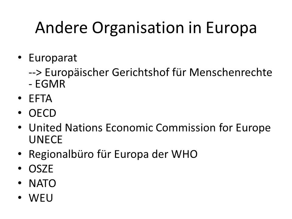 Andere Organisation in Europa