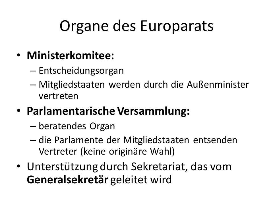 Organe des Europarats Ministerkomitee: Parlamentarische Versammlung: