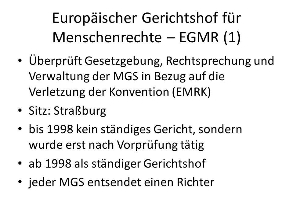 Europäischer Gerichtshof für Menschenrechte – EGMR (1)