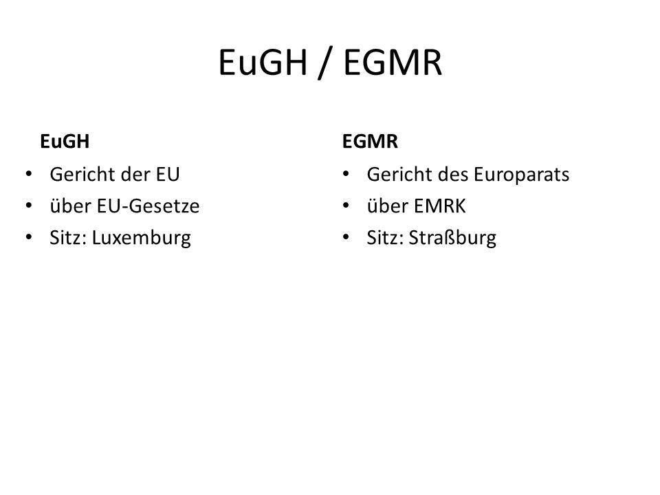 EuGH / EGMR EuGH EGMR Gericht der EU über EU-Gesetze Sitz: Luxemburg