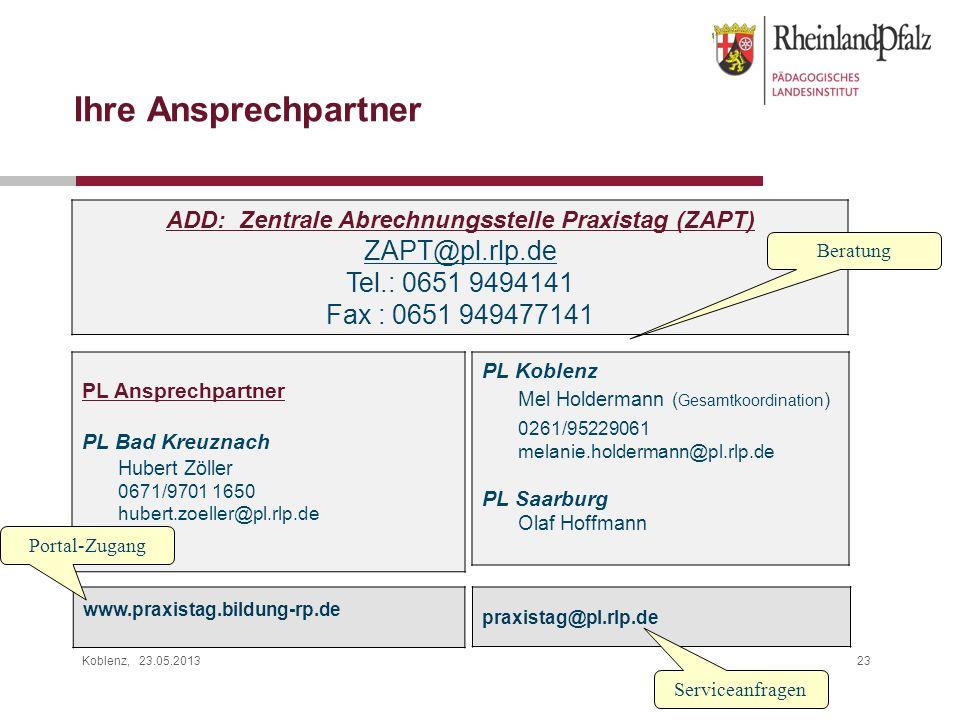 ADD: Zentrale Abrechnungsstelle Praxistag (ZAPT)
